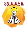 Summer big Sale letteringDresswatercolor yellow vector image
