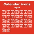 The calendar icon April symbol Flat vector image