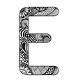 Zentangle stylized alphabet Lace letter E in vector image
