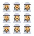 Traditional arab man emotion faces including vector image