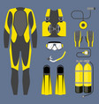 set of diving equipment icon wetsuit scuba gear vector image