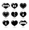 Love hearts icons set for Valentines Day vector image vector image