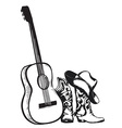 cowboy boots and music guitar isolated on white vector image