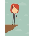 Business woman over the gorge vector image