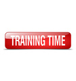 training time red square 3d realistic isolated web vector image