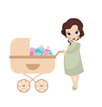 Pregnant woman with vintage baby carriage vector image