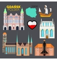Gdansk Poland Travel Doodle with Architecture vector image
