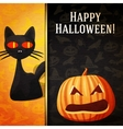 Happy halloween banner - Curious black cat and vector image