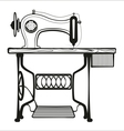 Sewing machine black lines vector image
