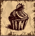Creamy cup cake on vintage background vector image