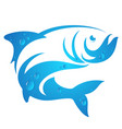 silhouette of fish with water drops vector image vector image