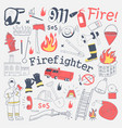 firefighter freehand doodle fireman vector image