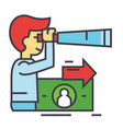 strategic vision future trends man with spyglass vector image