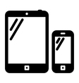 Tablet PC and mobile phone sign vector image