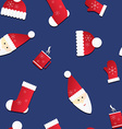 Seamless texture with Santa and red caps mittens vector image