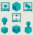 3D Printer flat blue icons set vector image