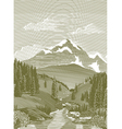 woodcut river scene vector image