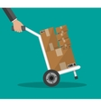 Metallic hand truck with boxes vector image