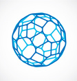 3d low poly blue spherical object perspective orb vector image