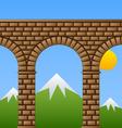 ancient stone bridge viaduct aqueduct vector image