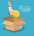 crowd funding poster with hand depositing bulb in vector image