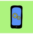 Doodle style phone with settings icon vector image