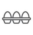 eggs in carton package line icon farming vector image