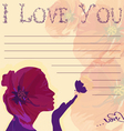 i love you card with silhouettes of girl vector image