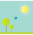 Sun sky tree grass bird Summer landscape in flat vector image