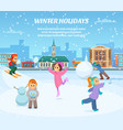 winter games children in clothes playing in park vector image