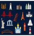 World travel landmarks flat icons vector image
