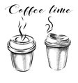 Collection of hand-drawn pictures coffee cups vector image