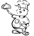Chef with tray of food in hand vector image vector image