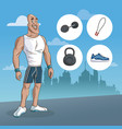 man sport muscular strong urban background vector image