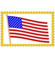 USA flag on stamp vector image vector image