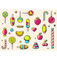 festive colorful pattern with sweets on light vector image