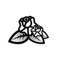 old school black white tattoo with rose vector image