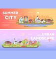 summer city urban landscape - set of modern flat vector image