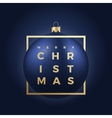 Blue Christmas Ball on Dark Background with Golden vector image