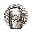 Craft beer mug with foam Sketch vector image