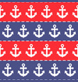 seamless anchor pattern blue and red stripes vector image