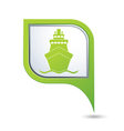ship icon green map pointer2 vector image vector image