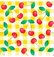 Tartan plaid with cherries seamless pattern vector image