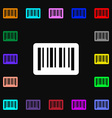 barcode icon sign Lots of colorful symbols for vector image