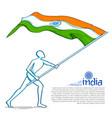 man hoisting indian flag celebrating independence vector image