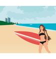 surfer girl vector image