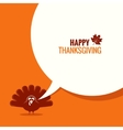 Thanksgiving turkey speech bubble background vector image