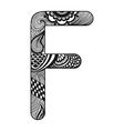 Zentangle stylized alphabet Lace letter F in vector image