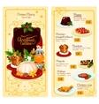 Christmas cuisine restaurant menu template design vector image