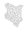 map of kenya from polygonal black lines and dots vector image